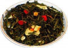 Чай зеленый Клубника колада, 500 г, крупнолистовой зеленый ароматизированный чай