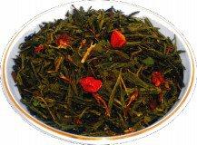 Чай зеленый Клубника со сливками, 500 г, крупнолистовой зеленый ароматизированный чай