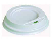 Крышка для картонных стаканов под горячие напитки с открытым питейником, белая, 70мм (100 шт в упаковке)